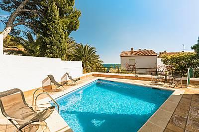 Casa para 8 personas con vistas al mar y piscina Girona/Gerona